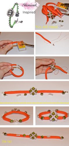 shourouk inspired bracelet - from thick shoestring/ hoodie drawstring