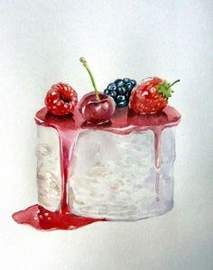Cake Drawing, Food Drawing, Sweet Drawings, Food Sketch, Watercolor Cake, Food Journal, Mets, Food Humor, Edible Art