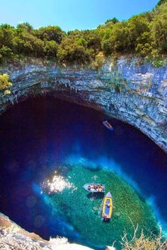 Melissani Cave, Kefalonia, Ionian Islands, Greece - Travel inspiration and places to visit Places Around The World, Oh The Places You'll Go, Places To Travel, Places To Visit, Vacation Destinations, Dream Vacations, Vacation Spots, Maldives Vacation, Maldives Honeymoon