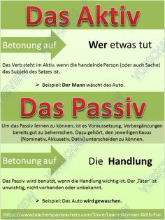 https://www.teacherspayteachers.com/Product/German-Grammar-Aktiv-und-Passiv-Uebungen-Regeln-Arbeitsblaetter-Poster-2492209 This product is about the German Active and Passive. It includes: poster rules exercise sheets worksheets Answer key