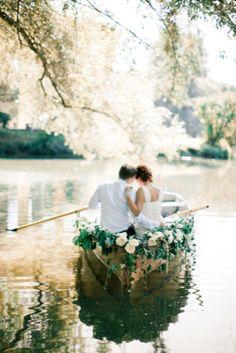 #romantic flower adorned rowboat | see more on http://burnettsboards.com/2014/01/romantic-lakeside-wedding/