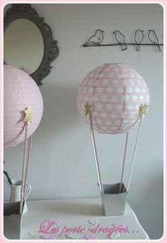 deco bapteme fille rose montgolfiere dore dragees
