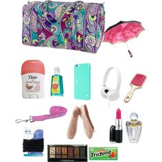 What's in my Dance Bag! by nutellalover12 on Polyvore featuring polyvore fashion style Porselli Vera Bradley Illesteva Goody Boohoo Free People Sony
