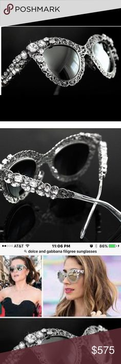 """Dolce & Gabbana Filigree Runway Sunglasses- NWT Dolce Gabbana Sunglasses Women Limited Edition Crystal Cat Eye DG 2134 Measurements: 140""""L x 26""""H x 47""""W. Silver with Swarovski Crystals. Mirrored lenses.  Comes with case and cloth. Dolce & Gabbana Accessories Sunglasses"""