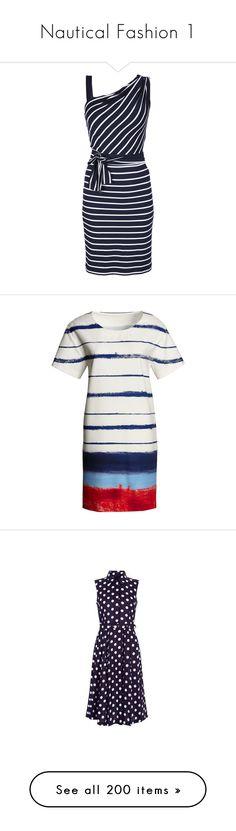 """Nautical Fashion 1"" by franceseattle ❤ liked on Polyvore featuring dresses, day dresses, vestidos, robe, short dresses, mini dress, one shoulder short dress, blue knee length dress, sleeveless dress and one shoulder dress"