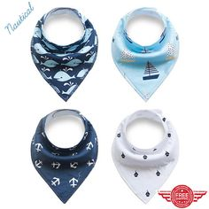 Baby Bandana Drool Bibs Unisex 4-Pack Gift Set for Drooling and Teething. Baby shower gift.  New mom. Nautical bib set; anchor; whales; sailboats