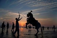 Saturday, November 15: Sunset on the beach     Adnan Khan directs his horse to perform in an attempt to attract people visiting Clifton Beach in Karachi, Pakistan on Friday, Nov. 14. Khan earns his living by providing horse rides to customers visiting the beach.