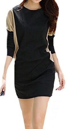 d816e3ceb38 XTX Women Fashion Korean Plus Size Long Bat Sleeve Party Dress 1 S        AMAZON BEST BUY     KoreanDresses
