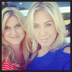 Me (pink) & BFF Kim (blue), having a photo OPP, after I make her a gorgeous vanilla blonde!