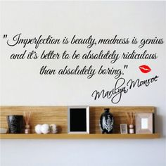 Imperfection Is Beauty Marilyn Monroe Wall Sticker Quote Decal Art Deco Vinyl Wall Stickers Quotes, Wall Stickers Murals, Wall Decal Sticker, Wall Quotes, Vinyl Wall Decals, Vinyl Art, Marilyn Monroe Bathroom, Marylin Monroe, Imperfection Is Beauty