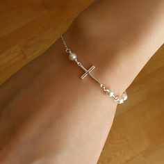 Silver Sideways Cross Bracelet, Silver Sideways Cross, Cross Bracelet, Holiday Gifts, Gift for her, Dainty Bracelet, Bridesmaid Gifts