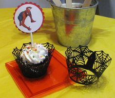 LOVE these cupcake wraps Cupcake Wraps, Birthday Packages, Man Party, Party Time, Birthday Ideas, Spiderman, Parties, Cupcakes, Party Ideas