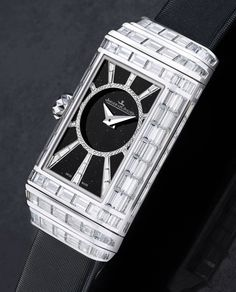 """Jaeger-LeCoultre Reverso One High Jewelry Ladies Watch - by Carol Besler - See more of this 1930's inspired beauty at: aBlogtoWatch.com - """"Jaeger-LeCoultre's Reverso One High Jewelry takes us back to the days when wristwatches were originally invented for women, for adornment purposes. It draws inspiration from the first ladies' Reverso models of the 1930s, a time when wristwatches were worn mainly by women. Since then, it is not just movements that have improved..."""""""