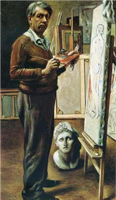Giorgio de Chirico (1888 - 1978) | Neo-baroque | Self Portrait in the Studio - 1935