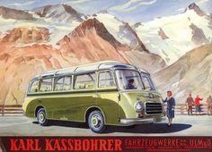 Eine Zeichnung aus dem ersten S 6 Prospekt. Die Proportionen stimmen hinten und vorne nicht, aber das war in den fünfziger Jahren durchaus üblich. ------------------------- Fotos:*  Kässbohrer Fahrzeugwerke GmbH Omnibusarchiv *