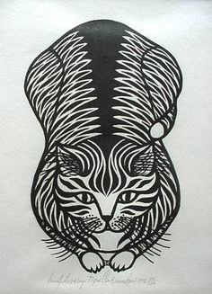 "By Jacques Hnizdovsky, 1978, ""Tiger Cat"", woodcut"