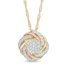 This ct. diamond swirl love knot pendant set in tri-toned gold suspends from an singapore chain that secures with a spring-ring clasp. Diamond Solitaire Necklace, Diamond Pendant, Pendant Set, Pendant Necklace, Mens Silver Necklace, Diamond Stores, Necklace Designs, Fashion Necklace, Colored Diamonds