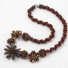 Necklace Floral Beads Beadwork Caramel & by KathrynBowmanStudio