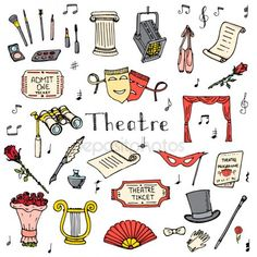 doodle Theatre set illustration Sketchy theater icons Theatre acting performance elements Ticket Masks Lyra Flowers Curtain stage Musical notes Pointe shoes Make-up artist tools , Bullet Journal Ideas Pages, Bullet Journal Inspiration, Musical Theatre, Theatre Nerds, Drama Theatre, Doodles, Wow Art, Doodle Art, Creative