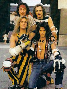 """The late 1970's and early 1980's Van Halen walked the fine line between being bad ass and sort of cheesy. Most of the cheesiness usually came from David Lee Roth but these photos below show that all the Van Halen band members shared in the cheesiness. I present to you, """"The Van Halen Roller Skating…"""