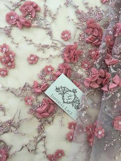 Red-brown color 3D lace fabric Luxury hand made by ImperialLace
