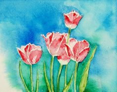 Tulips again   painted in water colour by Amita Shyam