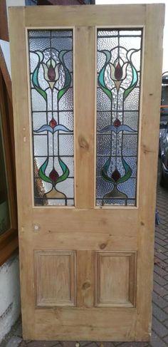 Stained Glass Doors currently available in the Regency Antiques Showroom. Regency Antiques we specialise in the reclamation and restoration Victorian antique doors, Victorian Stained Glass Windows, refurbished Edwardian Doors and furniture. Modern Stained Glass, Stained Glass Door, Stained Glass Designs, Stained Glass Panels, Stained Glass Projects, Stained Glass Patterns, Art Nouveau, Patio Door Coverings, Victorian Door