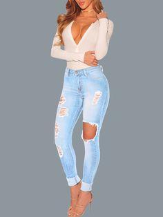 Trendy  Ripped Holey Denim Pants