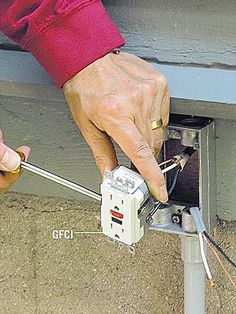 How to Extend Power Outdoors <br> Whether you're stringing lights or powering a leaf blower, there's a need for outdoor power. We'll show you how to equip your home's exterior with electricity. Installing Electrical Outlet, Outdoor Electrical Outlet, Outdoor Outlet, Home Electrical Wiring, Electrical Projects, Electrical Installation, Electrical Outlets, Electrical Engineering, Galaxy Slime