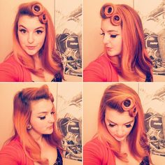 Lazy hair day, but still rocking pincurls! • • • #goodhairday #vintagehair #vintagehairstyle #orange #hairstyle #instahair #pincurls #hairdo #redhead #pinupgirl #retrohair #retrohairstyle #suicideroll #wetset #victoryrolls #rockabilly #hairoftheday #perfectcurls #tikihairflower #hairfashion #vintagestyle #redhair #vintage #pinup #pinuphairstyle #retro #rockabilly #hairflowers #pinupstyle #pinuphair