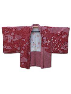☆ New Arrival☆ 'Garden Party' #red #silk #vintage #Japanese #shibori #tie-dyed #haori #kimonojacket from #FujiKimono http://www.fujikimono.co.uk/fabric-japanese/garden-party.html