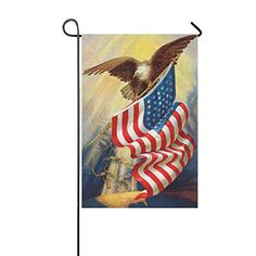 InterestPrint+Vintage+Memorial+Day+Independence+USA+Flag+Polyester+Garden+Flag+Banner+12+x+18+Inch,+4th+of+July+American+Bald+Eagle+Decorative+Flag+for+Anniversary+Home+Outdoor+Garden+Decor