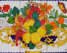 Hand Painted Ceramic Tiles - Fruit Bowl - Orange Fruit - Lemon Art - Italian Decor - Italian Painting - Art on Tiles - Wall Art