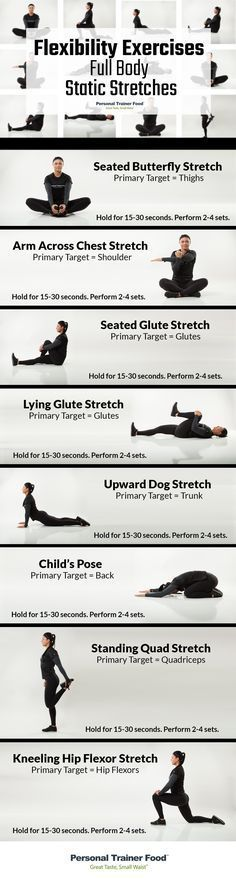 8 Full Body Static Stretches you can do anywhere, anytime, step by step infographic to guide you to better flexibility, less stress, and increased performance in no time from Personal Trainer Food. @PTrainerFood