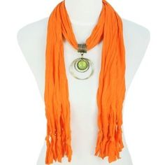 Women's Orange Color Pendant Tassel Winter Scarf with round Resin Charming Pendant, Scarf Necklace, Scarf Jewelry, Resin Pendant, Pendant Jewelry, Pendant Set, Pendant Necklace, Family Portrait Outfits, Yellow Pendants, Cheap Scarves