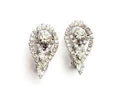 Vintage Large Rhinestone Earrings Clip On Bridal by LaVieHippie