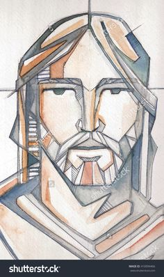 Hand Drawn Illustration Or Drawing Of Jesus Christ Face - 410994466 : Shutterstock