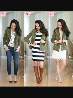 6b74802270 3 ways to wear an olive color jacket Military Jacket Outfits