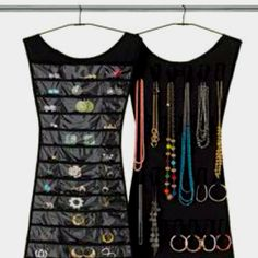 Umbra makes a LBD with pockets to hold earrings, and the other side with Velcro for necklaces and bracelets. Seriously considering one since I'm not thrilled with my jewelry amoire.  http://www.umbra.com/ustore/product/little-black-dress.store