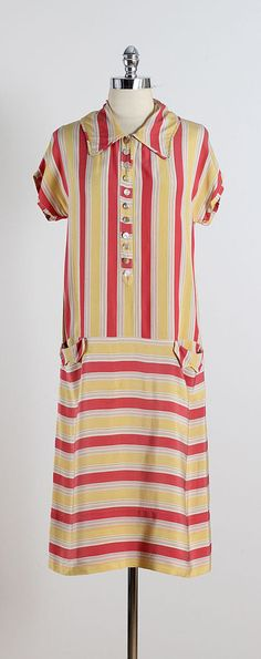 ➳ vintage 1920s dress * yellow & pink stripe silk crepe * button front * pockets condition | excellent fits like small length 43 bodice