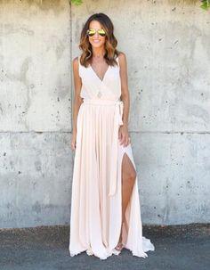 Sleeveless V Neck A-line Long Chiffon Maxi Junior Prom Dress