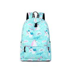 b819f3daa0 Women Backpack Unicorn School Printing Backpack Bookbag Cute School Bags  for Teenageintothea