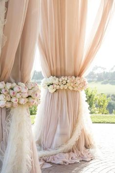 Pink Pastel Drapes for Outdoor Ceremony