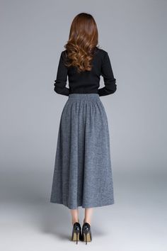 grey skirt wool skirt button skirt midi skirt warm skirt