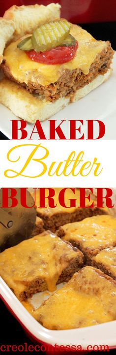 "Baked Butter Burger-Creole Contessa As much a I love butter, I won't ""frost my burger with butter. However, this is a neat recipe for seasoning meat and preparing burgers in a instead of making patties that I never have enough frying pans for. I Love Food, Good Food, Yummy Food, Beef Dishes, Food Dishes, Burritos, Low Carb Recipes, Cooking Recipes, Low Carb Hamburger Recipes"