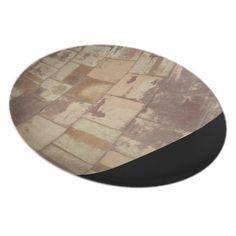 Antique Brick flooring (Black) Plate by @Willa_Art  @zazzle #antique #plate #kitchenware #dishes #designer #designerdishes #indesign #chic #tableware #plateset #dinnerwithfriends #homedeco