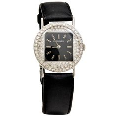 Longines Lady's White Gold and Diamond Wristwatch | From a unique collection of vintage wrist watches at https://www.1stdibs.com/jewelry/watches/wrist-watches/