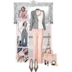 """Nude and Grey"" by gracemoonlight on Polyvore"