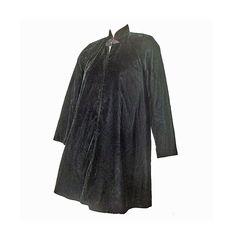 Black Velvet Vintage 80s Jacket Long by susiesboutiquecloths