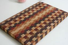 Multicolor End Grain Wooden Cutting Board / End by BOARDandHUNGRY